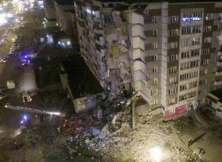 Блок в Русия се срути след взрив