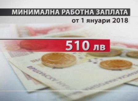 Минималната работна заплата става 510 лева от днес