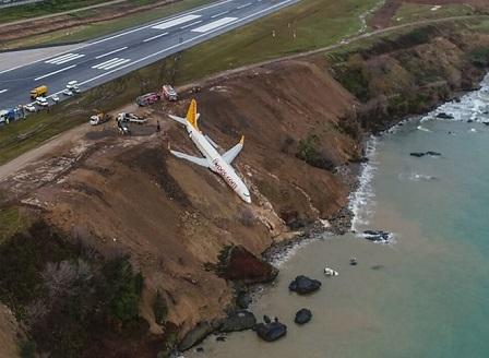 Самолет излезе от пистата при кацане на летище в Турция