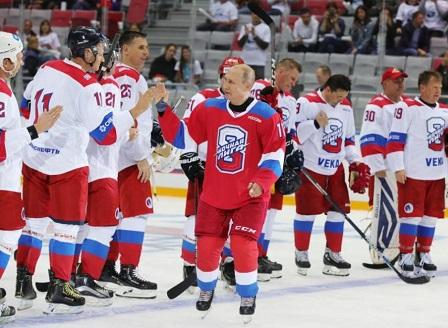 Путин отбеляза 8 попадения в мач по хокей на лед